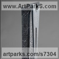 Column Pillar Columnar Stele sculpture statue statuary by sculptor artist Fabrizio Lorenzani titled: 'Tower I (Carved Columnar marble Contemporary abstract Indoor statue)' in Grey bardiglio and black marquinia marbl