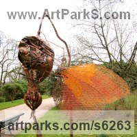 Insect Sculpture, to include Bees, Ants, Moths Butterflies etc by sculptor artist Fiona Campbell titled: 'Butterfly on Spiky Pod (Semi abstract Contemporary garden sculpture)' in Recycled steel and copper wire