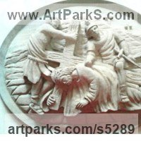 Christian Church Sculpture, Carvings Bas Reliefs Stained Glass and Statues by sculptor artist Francisco Martin Garcia titled: 'Medallion (Carved Crucifixion Plaque Relief statue)' in Linden wood (lime wood)