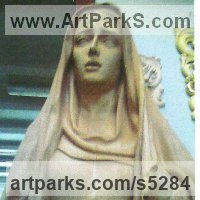 Christian Eclesiastical Sculpture, Carvings Bas Reliefs and Statues by sculptor artist Francisco Martin Garcia titled: 'Our Lady of Calvary (Carved Wood Religious statue/sculptures)' in Oak wood