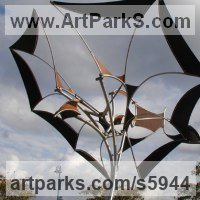 Kinetic or Mobile Sculpture or Statue by sculptor artist Francois Hameury titled: 'EMIR (Large Butterfly Like Kinetic Wind Mill metal sculptures)' in Steels, canvas, bearings