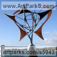 Kinetic or Mobile Sculpture or Statue by sculptor artist Francois Hameury titled: 'PHENIX (Kinetic Phoenix Wind Powered Moving Mobile sculptures)' in Steels