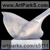 Birds Abstract Contemporary Stylised l Minimalist Sculpture / Statues by sculptor artist Gerardo Correa Mart�n titled: 'Little Bird (abstract Carved marble bird sculpture statuettes statues)' in Uruguayan pearl white marble