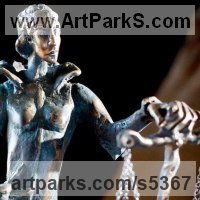 Allegorical / Parable Sculpture by sculptor artist G�za G�sp�r titled: 'Lady Justicia (bronze Stylised Justice and Scales statue statuette)' in Bronze