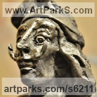 Surrealist Sculpture by sculptor artist G�za G�sp�r titled: 'Salvador Dali (Bronze Portrait sculpture Famous Surreal Artist statue)' in Bronze
