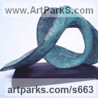 Birds Abstract Contemporary Stylised l Minimalist Sculpture / Statues by sculptor artist Gill Brown titled: 'Aquarius the Water Carrier (Modern abstract bronze Contemporary statue)' in Bronze