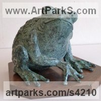 Reptiles Sculpture and Amphibian Sculpture by sculptor artist Gill Brown titled: 'Prince Charming (Amusing bronze Large Frog sculptures/statue/statuette)' in Bronze