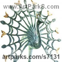 Wild Bird Sculpture by sculptor artist Gill Brown titled: 'RAZZLE DAZZLE (Contemporary Semi abstract Displaying Peacock sculpturr)' in Bronze