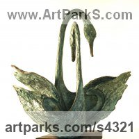 Wild Bird Sculpture by sculptor artist Gill Brown titled: 'Shangri-La (two bronze abstract Mating Swan statues)' in Bronze