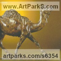 Alpacas Camels Dromerderries Guanacos Lamas Vicunas Sculpture by sculptor artist Gill Parker titled: 'Dromedary (Small Bronze Running/Trotting Camel statue)' in Bronze