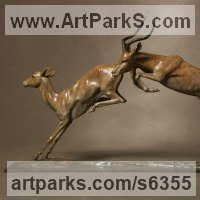 Animals and Birds at Play Sculpture Statues by sculptor artist Gill Parker titled: 'Impala (Bronze Leaping and Jumping African Buck and Doe Deer sculpture)' in Bronze