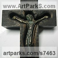 Eclesiastical Christian Sculpture, Carvings Bas Reliefs and Statues by sculptor artist Goran Gus Nemarnik titled: 'Crucifix (Carved Wood and bronze statuette statue Alter Piece)' in Wood  bronze