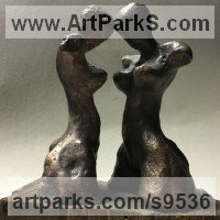 Friendship Friends chummyness Amicability Camaraderie Cordility Kindred Spirit by sculptor artist Goran Gus Nemarnik titled: 'Tense Attitude (Little female Torso Modern statue)' in Bronze , wood