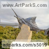 Sea Fish Sculpture by sculptor artist Graham Anderton titled: 'Sword Fish (Big Game Fish Outdoor Yard sculpture)' in Steel