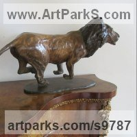 Cats Sculpture by sculptor artist Graham High titled: 'Lion (Little Bronze Charging Hunting statuette statue)' in Bronze