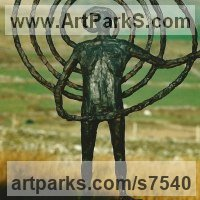 Spiral Twisted sculpture / statue / carving by sculptor artist Hans Blank titled: 'Celtic Spiral (Small figurative Contemporary sculpture)' in Bronze (foundry cast)