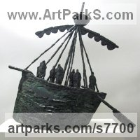 Modern Abstract Contemporary Avant Garde Sculpture or Statues or statuettes or statuary by sculptor artist Hans Blank titled: 'Medieval Boat (Primitive Contemporary Ship statuettes)' in Foundry cast bronze