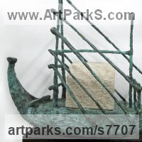 Marine Maritime Water Sea sculpture statue statuette by sculptor artist Hans Blank titled: 'RA 2, Papyrus Boat (abstract Reed Boat statue sculpture)' in Foundry cast bronze / carved limestone