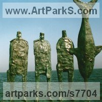 Aquatic Sculpture Fish / Shells / Sharks / Seals / Corals / Seaweed by sculptor artist Hans Blank titled: 'Unloading Swordfish (abstract Fish and Fishermen statuettes statues)' in Foundrt cast bronze