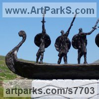 Military, Soldiers, Sailors, Marines Airmen and Military Equipment by sculptor artist Hans Blank titled: 'Viking Warriors (abstract Contemporary Norsemen statuettes statues)' in Foundry cast bronze / carved stone