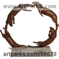 Young Animal Bird, Reptile or Amphibian and possibly Insects Statues by sculptor artist Harriet Glen titled: 'Otter Circle (Circular Small/Little Group Otters Swimming sculpture)'