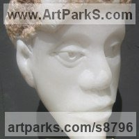 Conservatory Sculpture by sculptor artist Henrietta Bud titled: 'Head of a Nymph (Small Carved White Bust sculpture)' in Alabaster