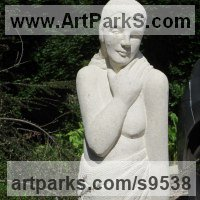 Stylised Nude statue sculpture statuette ornament by sculptor artist Henrietta Bud titled: 'Lot`s Wife' in Limstone