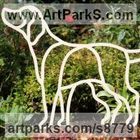 Wedding Anniversary Gift or Present Sculpture Statues statuettes by sculptor artist Henrietta Bud titled: 'Man`s best friend the labrador [5078]' in Steel