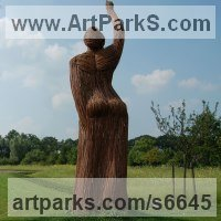 Willow, Bark and mosssculpture / statue / statuette by sculptor artist Hester Pilz titled: 'Willow Woman (Outsize Woven female Outdoor garden/Yard statue/sculpture)' in Willow on steel frame