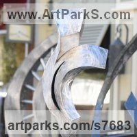 Stainless Steel Abstract Contemporary Modern Sculpture by sculptor artist Hunter Brown titled: 'Eternal Flame (stainless Steel Swirling abstract Indoor/Outside statue)' in Stainless steel