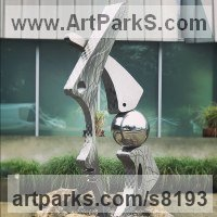 Stainless Steel Abstract Contemporary Modern Sculpture by sculptor artist Hunter Brown titled: 'Paleo' in Stainless steel
