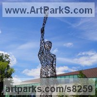 Monumental Sculpture by sculptor artist Ian Campbell-Briggs titled: 'Juno (Metal Frame nude standing Yard sculpture)' in Steel
