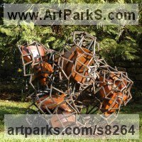 Sculpture or Statues made from Metal Rods or Bars by sculptor artist Ian Campbell-Briggs titled: 'Quintessence' in Argentine lignum vitae and steel