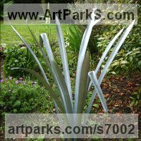Land Art Sculpture by sculptor artist Iron Vein titled: 'Phormium sculpture (Metal Outside garden Flax sculpture statue)' in Galvaniized steel