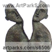 Couples or Group Sculpture by sculptor artist Isabelle Biquet titled: 'L`ame-soeur (abstract Contemporary Sister statuette)' in Bronze