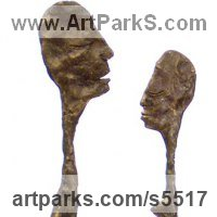 Couples or Group Sculpture by sculptor artist Isabelle Biquet titled: 'Le couple (bronze nude Modern abstract caricature Lovers statuette)' in Bronze
