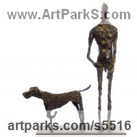 Animals and Humans Sculpture, Statues and Statuettes by sculptor artist Isabelle Biquet titled: 'Lhomme au Chien (nude Man and Friend Dog statues)' in Bronze, socle en acier