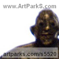Small / Little Abstract Contemporary Sculpture / Statues by sculptor artist Isabelle Biquet titled: 'Mr Monsieur (Small Bronze round Flat Man stylised statuette/statues)' in Bronze