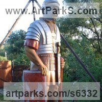 Historical Character Statues / Sculpture by sculptor artist Istv�n Demeter titled: 'Roman Soldier1 (life size Carved Wood Centurion statue/sculpture)' in Oak wood