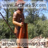 Historical Character Statues / Sculpture by sculptor artist Istv�n Demeter titled: 'Roman Soldier 2 (Centurion life size sculpture/statue)' in Oak wood