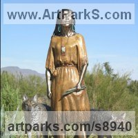 Animals and Humans Sculpture, Statues and Statuettes by sculptor artist J Anne Butler titled: 'Daughter Who Walks With Wolves (Young Squaw statue)' in Bronze