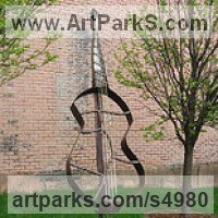 Stringed Instruments Composers and Musicians Realistic and Abstract Sculpture Statues statuettes by sculptor artist Jaak Kindberg titled: 'Air Bass Guitar (Outdoor String Instrument statues)' in Recycled steel
