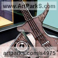 Stringed Instruments Composers and Musicians Realistic and Abstract Sculpture Statues statuettes by sculptor artist Jaak Kindberg titled: 'Bass Station (Modern Guitar Musical statue/sculpture)' in Recycled steel