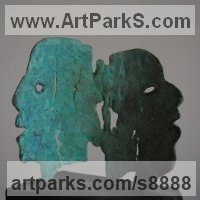 Silhouette, Flat, or Thin or Two Dimensional Bas and Low Reliefs Sculpture or Statues by sculptor artist Jacques Cassiman titled: 'Separation (Contemporary abstract Face sculptures)' in Bronze
