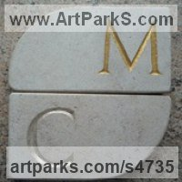 Carved Lettering Sculpture by sculptor artist James Bayliss titled: 'Lettered Coasters (Affordable Carved stone Mats)' in Natural stone