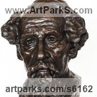 Famous People Sculpture Statues by sculptor artist James Matthews titled: 'Charles Dickens (Portrait Face Head Bust sculptures statues statuettes)' in Painted plaster polymer