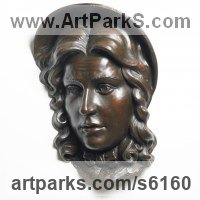 High Relief or Haute Relief Carving Sculpture Wall Panel casting in Bronze / Copper by sculptor artist James Matthews titled: 'Nancy (Bronze Metal Portrait Head Wall Mounted Plaque)' in Painted plaster polymer