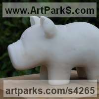 Animal Form: Abstract Sculpture by sculptor artist James Sutton titled: 'Toy VI (Small Toy Hippo Carved marble statuette statue or sculpture)' in Portuguese marble