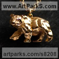 Precious Metals Animal Sculpture Statues statuettes ornaments by sculptor artist James Veale titled: 'Atlas Bear Necklace - Vermeil' in Sterling silver- vermeil gold plated