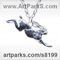 Precious Metals Animal Sculpture Statues statuettes ornaments by sculptor artist James Veale titled: 'March Hare Necklace (Lucky Bounding Running Solid Silver Pendant Jewel)' in Sterling silver